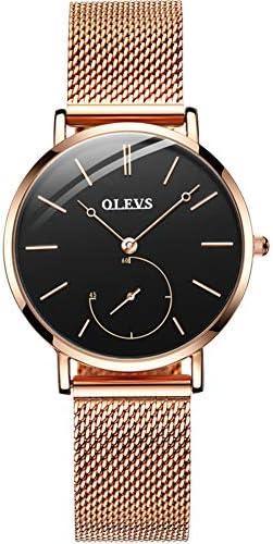 OLEVS Watch Women Rose Gold Wristwatch Ladies Female Girls Stainless Mesh Thin Minimalist Waterproof Fashion Casual Simple Dress Quartz Analog Classic Gifts Wrist Watch