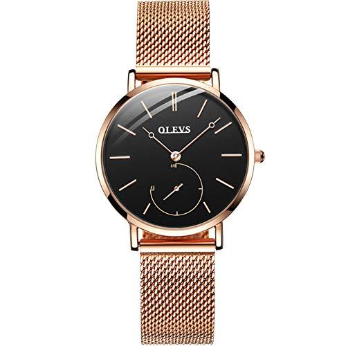 OLEVS Watches for Women Waterproof Ultra-Thin Fashion Dress Quartz Rose Gold Strap Quartz Analog Watch Ladies Wrist Watch