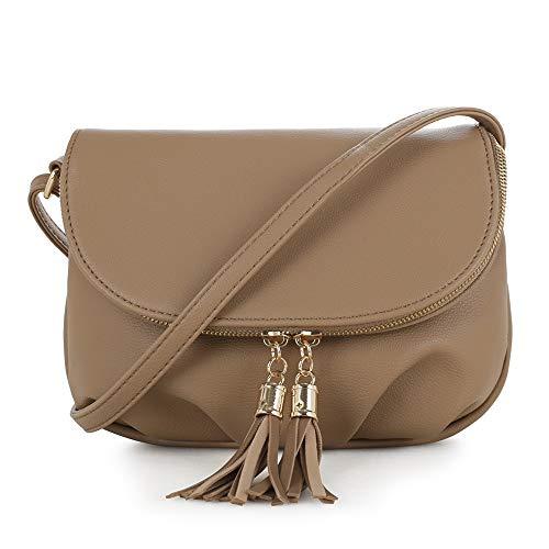 (EMPERIA Women's Front Flap Small Messenger Crossbody Bag Zipper Clossure with Tassel Taupe)
