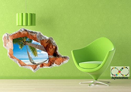 [Serene Tropical Beach- 3D Wall graphics sticker/poster for Wall decor Bedroom / Living Room / Kids Room (L-68