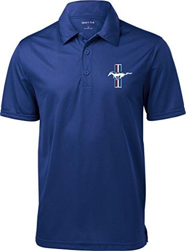 Mens Ford Legend Lives Crest (Pocket Print) Textured Polo Shirt, Royal, XL (Polo Crest Mens)