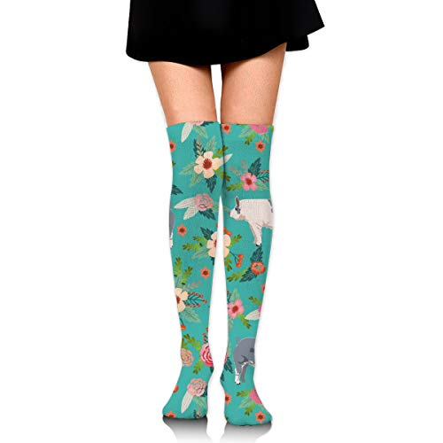 Farm Animal, Pig, Pigs, Blue Butt Pig, Pig Breeds, Farm Animals, Farm - Blue Fashion Over The Knee High Warmer Stockings 65cm(25.59in) Sports Compression Socks