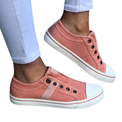 HAPPYSTORE Womens Loafers Canvas Flat Sports Running Summer Zipper Beach Casual Single Shoes (Armani Oxford Women)