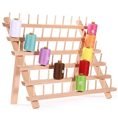 (MILIJIA 60-Spool Sewing & Embroidery Threads Wooden Rack Organizer)