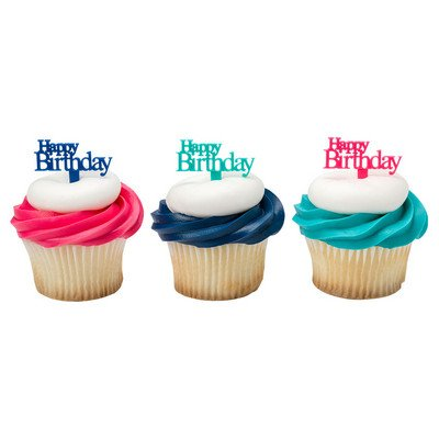 Happy Birthday Script Cupcake Picks - 24 pc