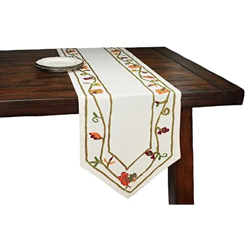 Xia Home Fashions Harvest Vine Crewel Embroidered Harvest Fall Table Runner,  15 By 90 Inch