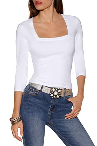 (Beyond Proper by Boston Proper So Sexy Solid Color Women's Three Quarter Sleeve Square Neck Knit TopWhite Small)