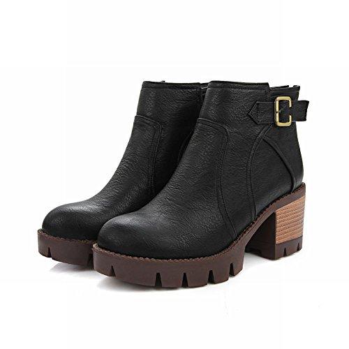 Dames Retro-platform Met Ceintuurhals En Midzipper Korte Laarzen Zwart