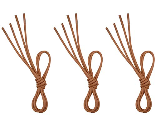 "VSUDO 3 Pairs Light Brown 32"" Waxed Dress Shoelaces, 1/8"" Thick Shoe Laces for Oxford or Dress Shoes (3Pair-Light Brown-81CM)"