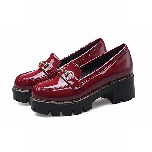 rojo tacón para mujer plataforma decoraciones medio Carolbar zapatos casual concisa qFXzfnHw
