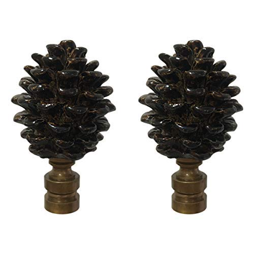 Royal Designs F-5064AB-2 Pine Cone Design Lamp Finial, Antique Brass, Set of 2