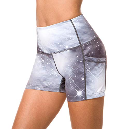 Munvot Women Running Workout Tights Yoga Shorts with Pockets M