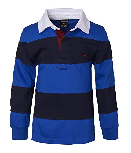 Sportoli Big Boys 100% Cotton Wide Striped Long Sleeve Polo Rugby Shirt - Royal/Navy (Size 14)