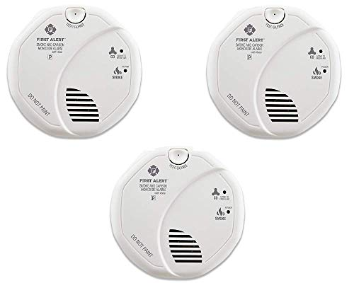 First Alert SCO7CN Combination Smoke and Carbon Monoxide Detector with Voice and Location, Battery Operated - 3 Pack