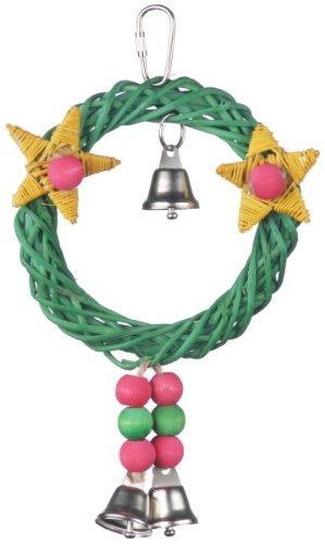 Image of Super Bird Creations 8 by 6-Inch X-mas Wreath Vine Swing Bird Toy, Medium