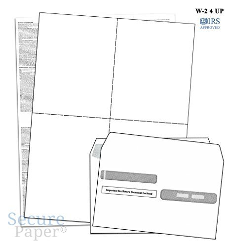 image about Form Ds 71 Printable referred to as W-2 4-Up Blank Laser Tax Varieties Fixed With Envelopes, For 100 Staff, 2018