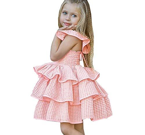 Sharequeen Baby Dress, Infant Girls Cake Tutu Dress Backless Pink Flower Girl's Dress A069 (3-4 Years, Pink) -