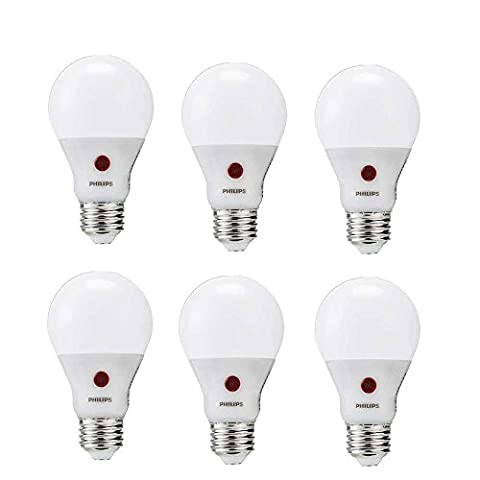 Philips LED Dusk to Dawn Bulb 6 Pack, 60 Watt Equivalent, Soft White (2700K) A19 Non Dimmable, Medium Screw - Screw In Led Bulbs