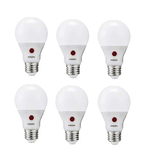 60 Watt Equivalent Soft White Dusk to Dawn A19 LED Light Bulb, Energy Star Certified, 6 Pack (Philips Led Lighting)