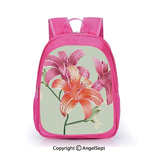 (Casual Backpack Waterproof For Kindergarten Students,Lily Flowers on Grunge Backdrop Gardening Plants Growth Botany Pale Green Salmon Pink,15.7inch,Backpack For Kids Water Resistance)