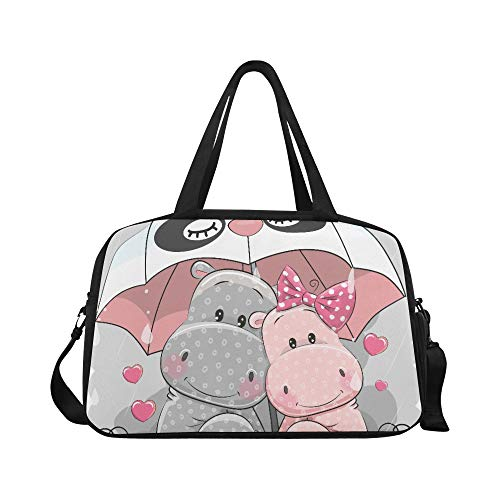 Colored Kid's Favorite Animal Hippo Custom Large Yoga Gym Totes Fitness Handbags Travel Duffel Bags With Shoulder Strap Shoe Pouch For Exercise Sports Luggage For Girls Mens Womens Outdoor
