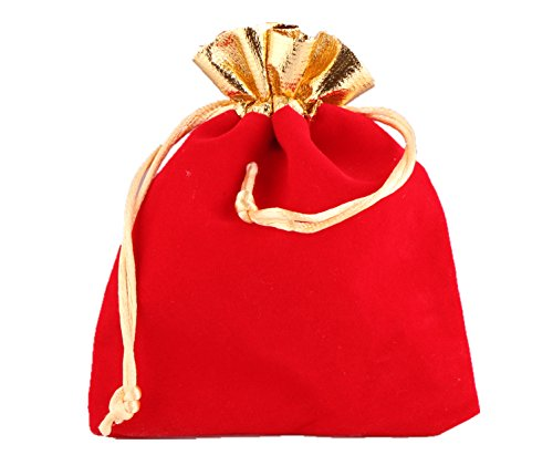 LBS Heavy Duty Drawstring Organza Wedding Gift Jewellery Candy Pouch Bags (10PC Red Velvet Bag 7x9cm)