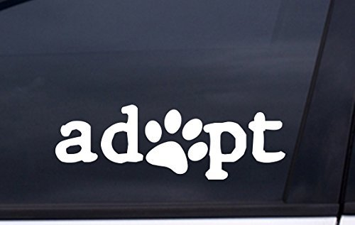 focenterprises-adopt-dog-paw-decal-2x6-white-rescue-pound-puppy-sticker