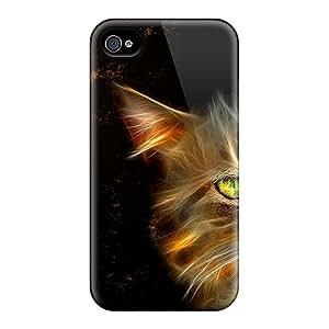 Hot Cat Fire First Grade Tpu Phone Case For Iphone 4/4s Case Cover