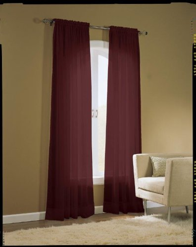 Easy Care Fabrics 2 Piece Burgundy Sheer Voile Window Covering/Curtain/Drape/Panel/Treatment 58-Inch X 84-Inch MLA 104347.0