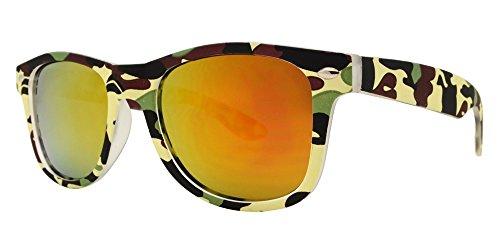 Kids Classic Retro Rewind Sunglasses Color Flash Mirrored Lenses Soft Plastic Frames for Children 3-9 (FDA Approved) (Green Camo, Orange - Sunglass Fda
