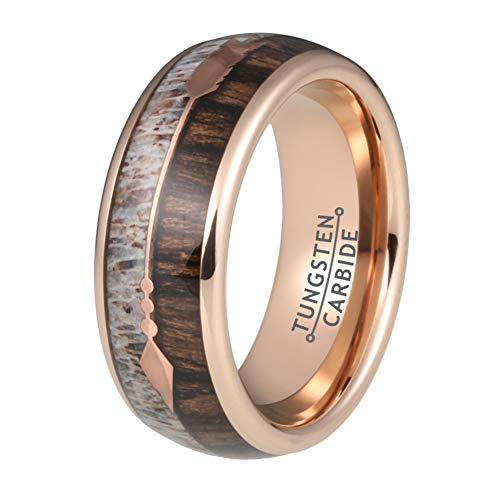 Wow Jewelers 8mm Mens Tungsten Rings Womens Rose Gold Wedding Bands Deer Antler Koa Wood Inlay Two Arrows Around Comfort Fit