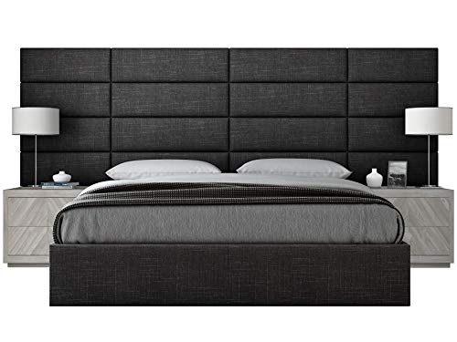 VANT Upholstered Headboards - Accent Wall Panels - Packs of 4 - Textured Cotton Weave Black Denim - 39