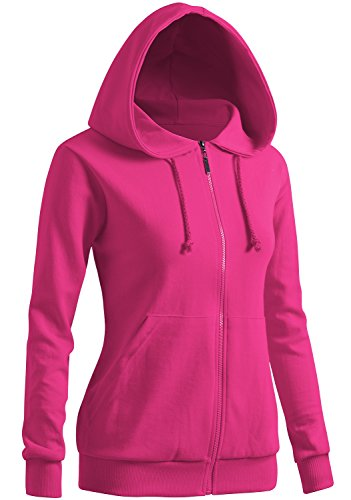 CLOVERY Women's Simple Design Long Sleeve Hoodie Pink US S/Tag S