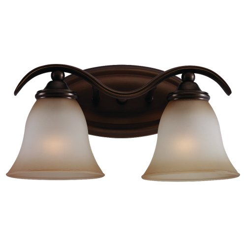 (Sea Gull Lighting 44360-829 Rialto Two-Light Vanity, Russet Bronze Finish with Ginger Glass)