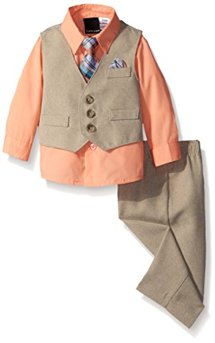 Van Heusen Baby-Boys Solid Ticking Vest Set with Tie, Passionate, 6-9 Months