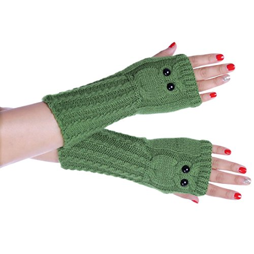 Owl Gloves (Gloves,NOMENI Knitted Arm Owl Fingerless Winter Gloves Soft Warm Mitten (Green))