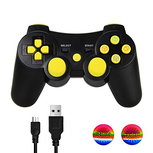 TPFOON PS3 Controller, Dualshock 3 Sixaxis Double Shock Gamepad Remote for Sony PS3 Playstation 3 with 2 Thumb Grip Caps and 1 Charging Cable