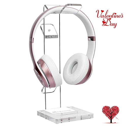 GeekDigg Acrylic Headset Headphone Stand Gaming Headphone Holder with Cable Organizer--Transparent