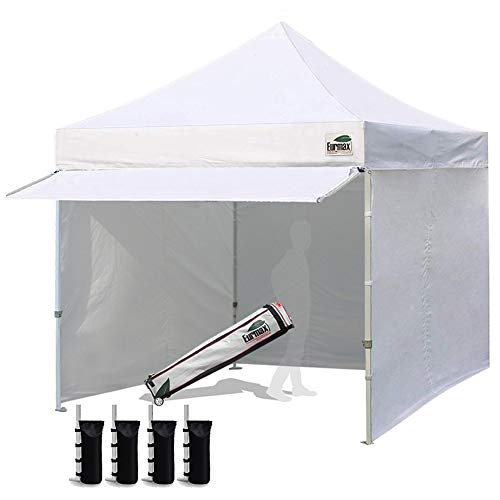 Eurmax 10 x 10 Pop up Canopy Commercial Tent Outdoor Party Canopies with 4 Removable Zippered Sidewalls and Roller Bag Bonus 4 Canopy Sand Bags 24 Squre Ft Extended Awning White