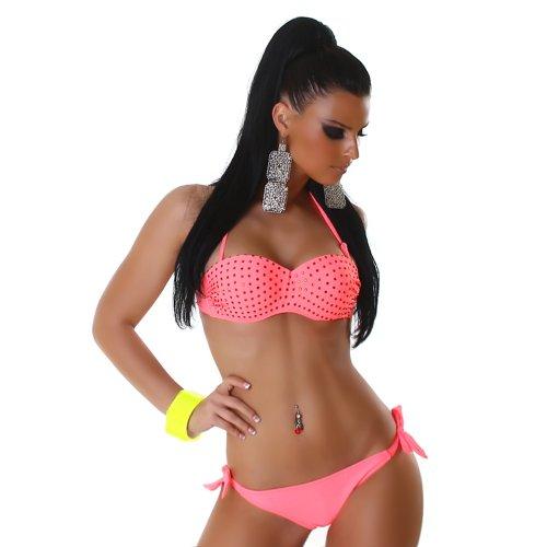 Mujer llevar - tirante con-brillantes acolchada Cups Bikini Salmon Pink