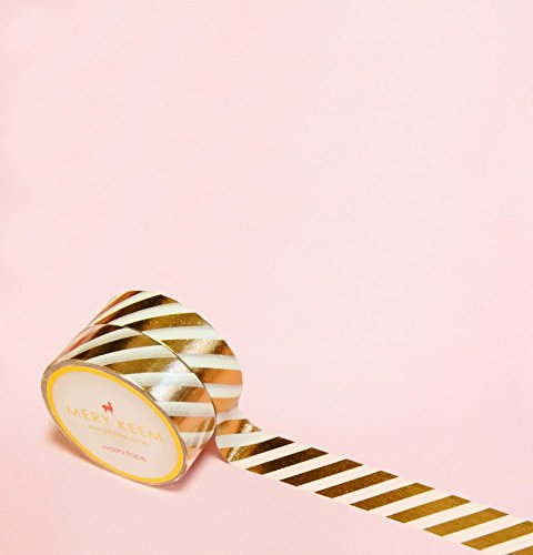 Stripes in Rose Foil Washi Tape for Planning • Scrapbooking • Arts Crafts • Office • Party Supplies • Gift Wrapping • Colorful Decorative • Masking Ta…