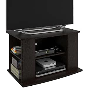 stylish elegant tv stand with side storage for tvs up to 32 ample space for all. Black Bedroom Furniture Sets. Home Design Ideas