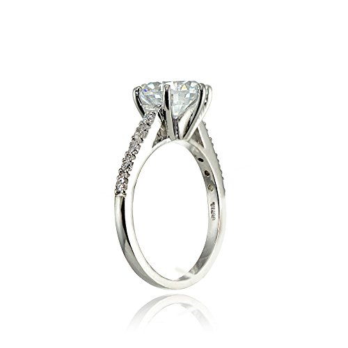 24645ba12116f6 Sterling Silver 8mm Round Cubic Zirconia 6-Prong-set Solitaire ...