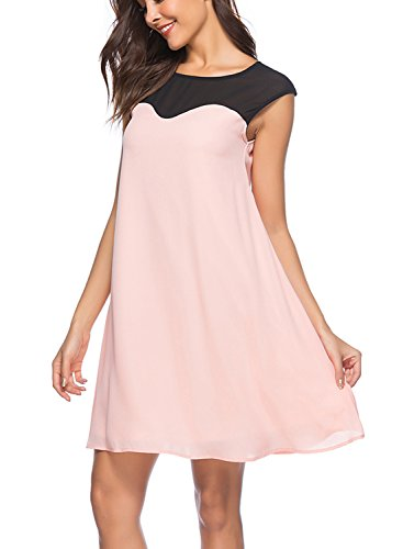 e Sleeveless Chiffon Dress Casual Swing Tunic Knee-Lenght Dress (S, DM009-Pink) ()
