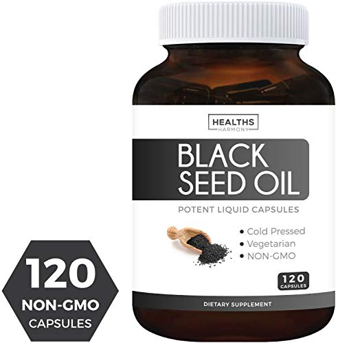 Black Seed Oil - 120 Softgel Capsules (Non-GMO & Vegetarian) Premium Cold-Pressed Nigella Sativa Producing Pure Black Cumin Seed Oil with Vitamin E - Made in The USA - 500mg Each, 1000mg Per Serving ()