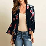 Leoy88 Womens Chiffon Shawl Print Lace Kimono Cardigan Cover Up Flare Sleeve Beachwear