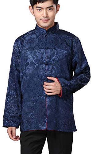 - BLINGLAND Chinese Traditional Uniform Top Kungfu Shirt for Men US XS Asia S-Blue+Red