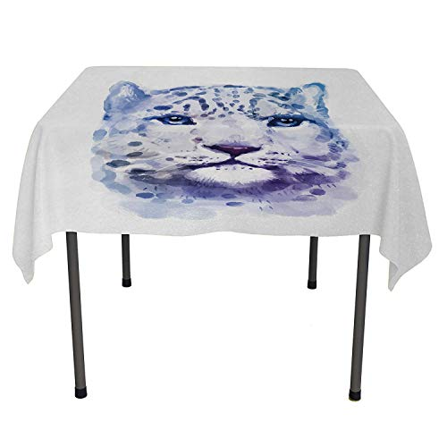 (Animal party supplies tablecloth Big Wild Cats Themed Print Watercolor Style Leopard Illustration Jungle Wildlife Violet White washable outdoor table cloth Spring/Summer/Party/Picnic 36 By 36)