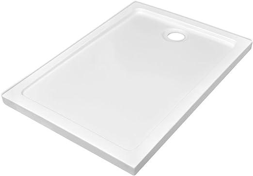 vidaXL Plato Ducha Rectangular Antideslizante ABS Blanco 70x100 ...