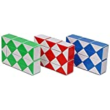 Playwin® Magic Snake Red/Blue/Green 3 color in 1 package Twist Puzzle Twisty Toy collection(white)